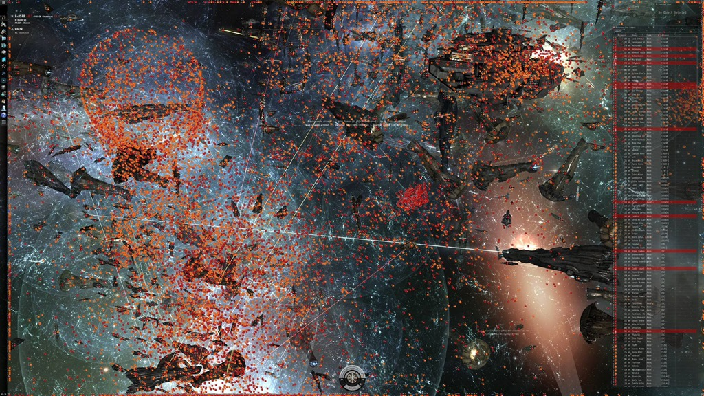 I think this screenshot gives better justice to the sheer size of wars in Eve. Each orange and red square is a player owned ship. In previous screenshots you could only see the large ships that very few players actually