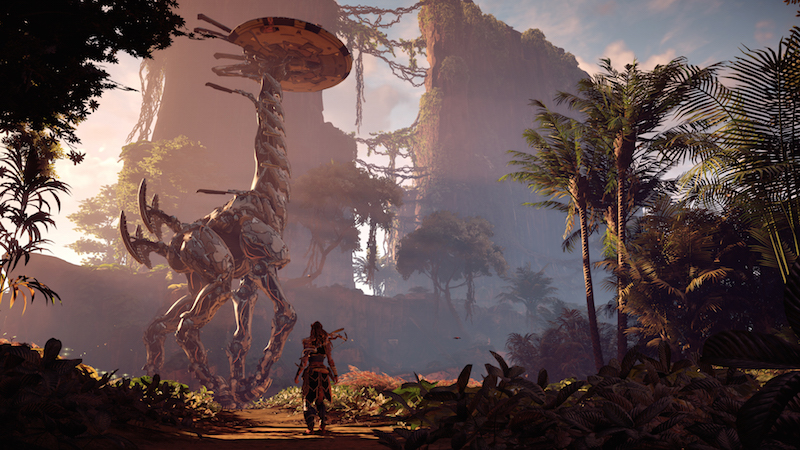 Yes, you can climb the robot dinosaurs in Horizon Zero Dawn