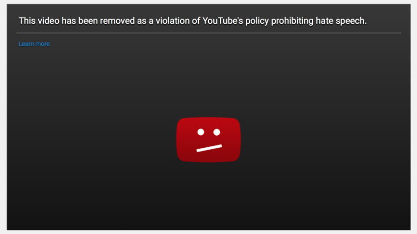 YouTube hate speech video removed